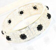 Filigree Black Onyx Gemstone Round Bangle Bracelet Sterling Silver 925