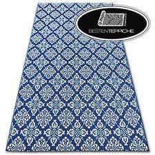 """Moderne SISAL Teppich """"COLOR"""" Blau WeißFlach webart Blumen Einfach zu säubern"""
