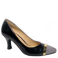 Women's Bellini Zephra Black/White Faux Patent Leather Leopard Cap Toe Pump