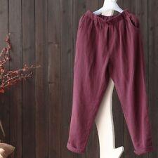 Women Cotton Linen Harem Pants Casual Loose Trouser Elastic Waistband Size M-5XL