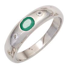 Damen Ring 925 Sterling Silber rhodiniert 1 Smaragd grün 2 Zirkonia Silberring