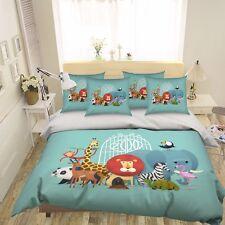 3D Cute Animals Poster 63 Bed Pillowcases Quilt Duvet Cover Set Single Queen CA