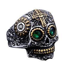 Sugar Skull Ring Gold & Green CZ Rock Biker Retro Silver Mens Stainless Steel