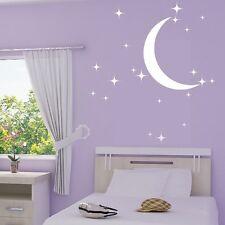 Stickers Muraux 20 Etoiles et Lune+ Prénom Personnalisable -Choix Taille/Couleur