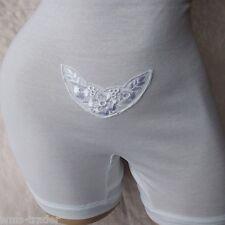femmes taille Slip avec longue jambe Sous-vêtements Culotte Blanc