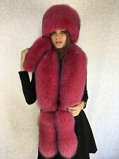 3dd05248 Fox Fur Collar 50' Pillbox Hat Set Saga Furs Raspberry Pink Three Tails