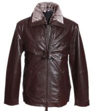 Homme freeman marron nouveau vrai doux cuir d'agneau leather fashion veste