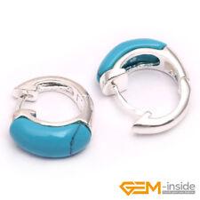 Fashion Inlaid Gemstone White Tibetan Silver Huggie Earrings Jewelry 30mm