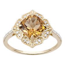 Oro Giallo Stile Vintage Originale Taglio Cuscino Citrino e Anello Diamante