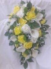 Wedding Bouquet yellow pearl Bride Bridesmaid Flowergirl Buttonholes