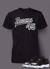 45 T Shirt to Match AIR JORDAN 11 Barons Shoe Pro Club Short Sleeve Black T