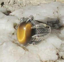 RX Ring Drache Klaue hält Tigerauge Sternzeichen Zwilling Sterling Silber 925