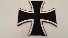 "PATCH - CHOPPER CROSS - 3""D - BLACK/WHITE -  IRON/SEW ON - NEW***"