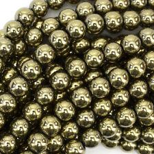 "Pyrite Hematite Round Beads Gemstone 15.5"" Strand 2mm 3mm 4mm 6mm 8mm 10mm 12mm"