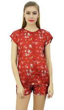 Bimba Women's Floral Satin Red Pj Set Buttondown Shirt Shorts Night Dress