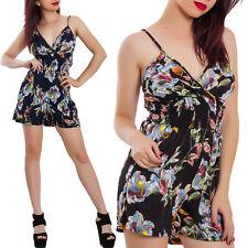 Overall donna tutina shorts floreale fiori elegante pantaloncini sexy BE-2338