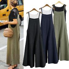 Womens Sleeveless Cotton Linen Wide Leg Jumpsuit Overalls Long Trousers Pants US