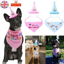 Pet Dog Cat Birthday Hat Headwear Bandana Neckerchief Ties Party Fancy Dress UK