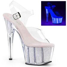 PLEASER ADORE - 708UVG Neon Opal GLITTER UV PLATEAU CINTURINO alla caviglia Sandalo