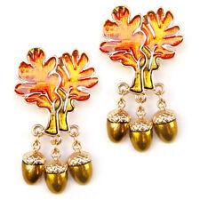Brooch Orange Autumn Leaves Yellow Gold Filbert Hazel Nuts Sparkle Lovely Pin