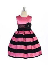 Posh Hot Pink Black Stripes Pageant Flower Girl Dress Crayon Kids USA