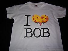 TEE SHIRT ENFANT BLANC - 3/4 ans - 5/6 ans - 7/8 ans - I LOVE BOB - BOB L'EPONGE