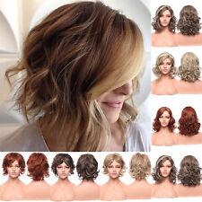 Medium Bouncy Curls Wig Ash Brown Blonde Auburn Full Wigs Synthetic Heat Resista