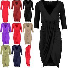 Womens Ladies Drape Wrap Over Fishtail V Neck Asymmetric Ruched Mini Top Dress
