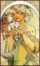 Flowers 1897 Art Nouveau Mucha Vintage Poster Print Retro Style Art Wall Decor