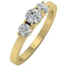 Real Diamond 3 Stone Wedding Ring 1.01Ct SI1 H Prong Set 14K Gold 5.00mm SZ 4-12