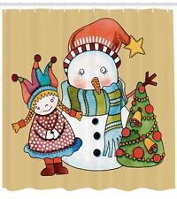 Christmas Season Pattern Shower Curtain Fabric Decor Set with Hooks 4 Sizes