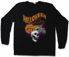 HALLOWEEN FACES MEN LONG SLEEVE T-SHIRT Witch Moon Hexe Halloween Pumpkin Face