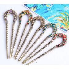 Retro Flower Hairpin Rhinestone U shape Hair Sticks Hair Accessories for Women