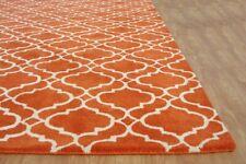 Scroll Tile Moroccan Style Orange Handmade Tufted 100% Wool Area Rug Carpet