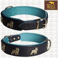 Premium Hundehalsband Französische Bulldogge WOZA Lederhalsband Vollleder OC7789