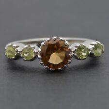 925 Sterling Silver Topaz Smoky Quartz Amethyst Gemstone Ring Fine Jewelry