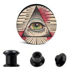 PAIR - All Seeing Eye - Acrylic SCREW Ear Gauges Ear Plugs Flesh Tunnel 6G - 5/8