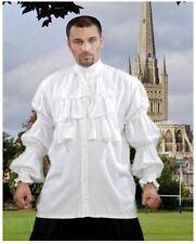 "Colonial Era Men's White Ruffled Front Shirt Victorian Gothic ""Puffy Shirt"""