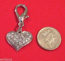 Dog Pet Collar Zip Bracelet Bag Charm Czech Crystal Heart Tag Bling FREE P&P
