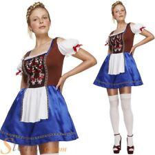 Ladies Dirndl Oktoberfest German Bavarian Beer Girl Fancy Dress Costume Outfit