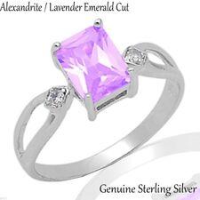 Emerald Cut Alexandrite / Lavender Genuine Sterling Silver Ring Size 3 - 12