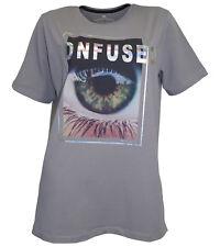 Cross Jeans Damen T-Shirt Confused Print kurzarm Tunika Shirt Top grau 765999 .