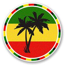 2 x 10cm Jamaica Rasta Palm Tree Vinyl Decal Sticker Luggage Travel Beach #5649