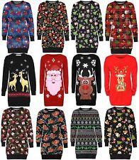 Débardeur Santa Flocons CADEAU CLOCHES Renne Pingouin De Noël Tricot Sweat Jumpers 8-22