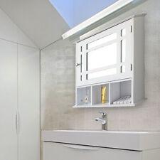 Wooden Bathroom Wall Medicine Storage Cabinet Shelves Organizer w/ Mirror Door