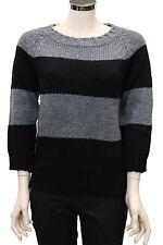 Maglione da donna nero grigio North Sails lana manica 34 bicolore a righe moda