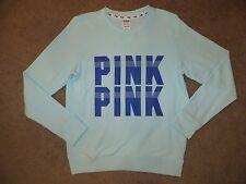 VICTORIA'S SECRET PINK AQUA DARK BLUE CREW NECK BOYFRIEND SWEATSHIRT XS S M L