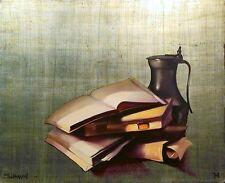 Michael Huggins BOOKS, PEWTER Original Oil Painting on silver leaf board, OBO!