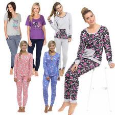 Ladies Cotton Jersey Long Sleeve Top Print Leggings Pyjamas Sets Nightwear Pjs