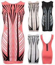 femmes sans manche moulant LOOK Trempé TRIANGLE Motif femmes coupe slim robe